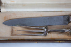 Silver plated carving set, in good condition, in original case, France, circa 1880