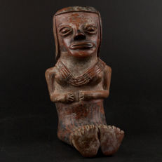 A Pre-Columbian Carchi terracotta female.