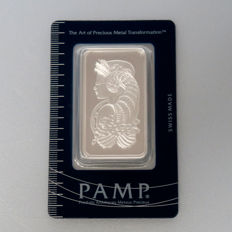 Pamp Suisse Fortuna 50 g 999 silver bars in blister with certificate