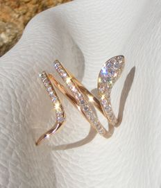 """Serpent"" ring in 18 kt gold set with 1.53 ct of VS/VVS very brilliant diamonds - size 54"