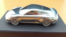 2015 Porsche 911 Turbo type 991 2nd generation - solid aluminium Paperweight in luxury gift packaging - scale 1/43