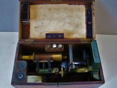 Antique microscope - field microscope - wooden case - Germany - ca 1880/1900