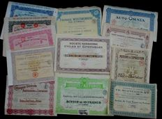 12 x historical Automobile Stock Certificates, moslty Frech 1907 - 1929