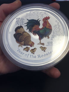 Australia - 30 Dollars - Lunar Year of the Rooster 2017 - 1 kg - 999 silver coin - colour edition