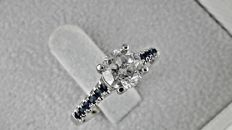 1.43ct  round diamond ring in 14 kt white gold - size 7