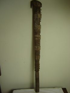 Old Pacific wooden spike carved hook war club - SAMOA ISLAND