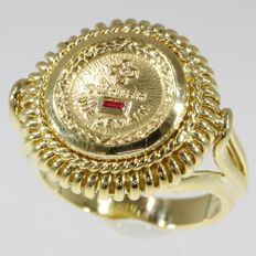 Gold romantic ring, Belgian made in 1970