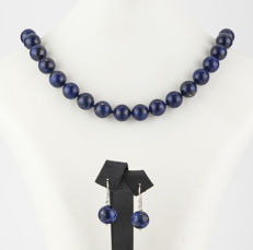 Silver (925/1,000) – Necklace: 46 cm – Earrings: 29.80 mm x 12.25 mm (approx.) – Lapis Lazuli
