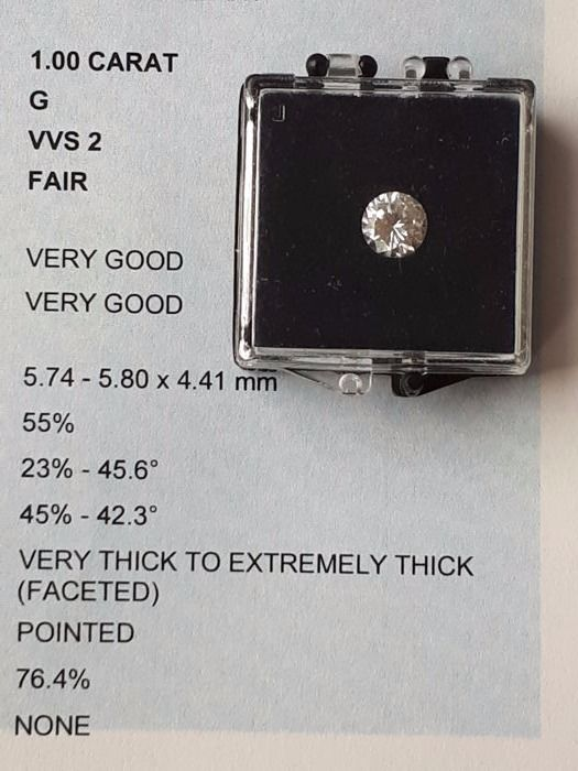 1.00 ct brilliant cut diamond, G VVS2, IGI certificate