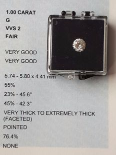 1.00 ct brilliant cut diamond - G VVS2 - IGI certificate