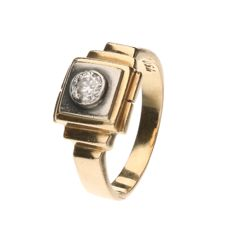 Bi-colour gold, vintage men's ring set with one rose cut diamond of approx. 0.25 ct, inner size: 17.25 mm.