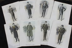 Edition A. Darroux - Series of eight old 'Dandy fashion' prints from 'The Modern Style' - 1925 - France