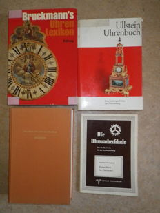 Lot of 4 books about clock technology, images and technical details