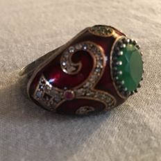 Sterling silver ring – emeralds, rubies and zircon on enamel