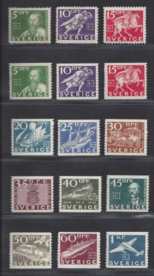 Sweden 1936 – 300 Years Swedish postal service – Michel 227/238A, including 227/229B
