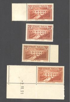 France 1929 - Pont du Gard, four different types, all signed Calves - Yvert no. 262