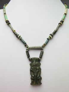 Egyptian necklace of faience beads and Bes amulet - 48 cm