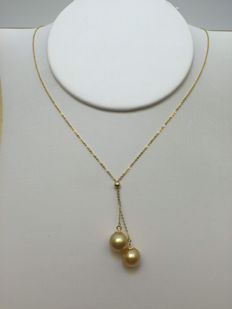 South China Sea Golden Pearl 18K gold necklace. Pearl diameter 8.5 mm