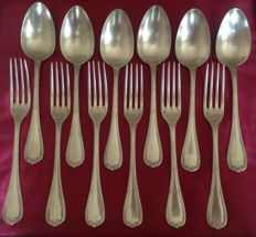 12 table utensils with crossed ribbon pattern - Christofle - France - 19th century