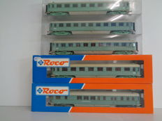 "Roco H0 - 5 Pieces Turquoise ""Plan D Bolkoppen"" Carriages of the NS."