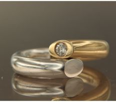 LeChic – 14 kt bi-colour gold ring, set with brilliant cut diamond - ring size 17.25 (54).