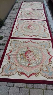 Beautiful European needlepoint carpet, 405 x 105 cm