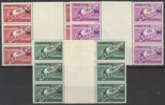 Parcel stamps 'Winged wheel' with overprint OBP nos. TR202 through TR204 in blocks of 6, with vertical gutter
