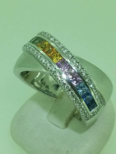 18 kt white gold with sapphires and diamonds - Size 56