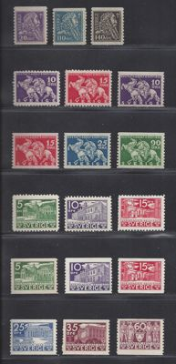 Sweden 1921/1935 - three series - Michel 141/143, 216/219, 221/226.