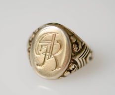 Silver, old signet ring, gold plated