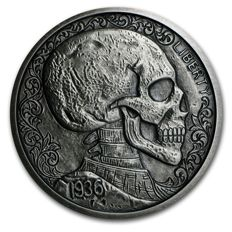 USA - 5 oz - 999 Fine Silver / silver - Skulls & Scrolls - Vagabond Nickel Series 1936 - Silver Antique Finish