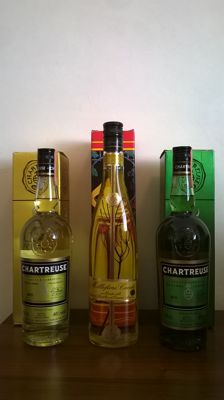 Three old liqueur bottles: 1x Chartreuse Jaune (bottled in 1997 - L 913 210) / 1x Chartreuse Verte (bottled in 1997 - L 913 209) / 1x Millefiori Cucchi (italian flower liqueur, bottled in early 90s - 500ml bottle)