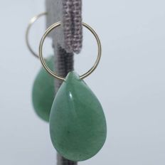 "18 kt gold hoop earrings with Jade, Diameter 14 mm - ""No Reserve""."