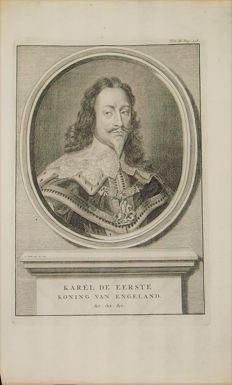 English Kings; Charles I (and his children), George II, Richard I and Henry VIII - from various artists - 1729/1732/1741/1784/1845