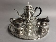 Silver plated tea set on a round serving tray, Mappin & Webb, England, ca. 1975