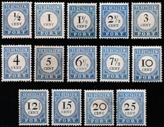 The Netherlands 1894 – Postage Due Stamps, Black Number and Value – NVPH P13/P26