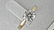 1.01 ct round diamond ring made of 14 kt yellow gold - size 7 ***No reserve price***
