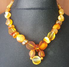 Authentic old natural Baltic Amber necklace multi colour, 48 grams