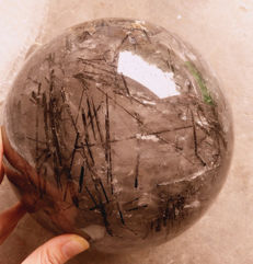 Extra large Tourmaline Quartz sphere - 200mm - 10,30kg