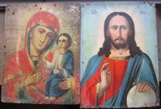 Two russian icons (early 20th century) - The Mother of God and The Christ
