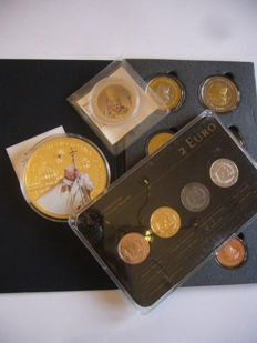 Europe - Latvia (2 Euro 2013 Precious Metal Set) (4 different plated coins)  & Vatican (8 coin Probe 2006 + 2 medals)