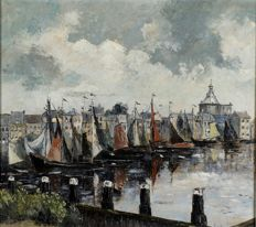 G.J. Spijker, Harbour view with moored sailing boats, oil on canvas, signed