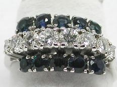 Vintage diamond & sapphire cocktail ring total: 2,32ct.