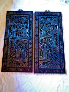 Two wood cutting panels / wood carvings with gold-plating - China - from second half of 20th century