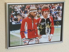 Bjorn Borg and John McEnroe - framed old photo Wimbledon - original signed by both + COA.