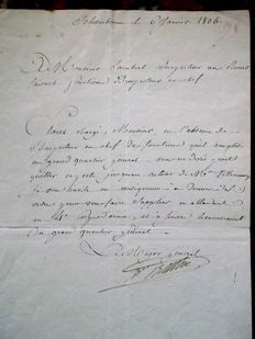Autograph letter by BERTHIER Major General of the Great Army, Schoenbrunn 1806, return from AUSTERLITZ with NAPOLEON.