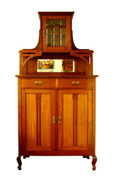 Art Nouveau mahogany sideboard with upright partition