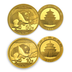 China - 10 Yuan 2016 + 50 Yuan 2016 - China Panda - 2 pieces 999 gold coins