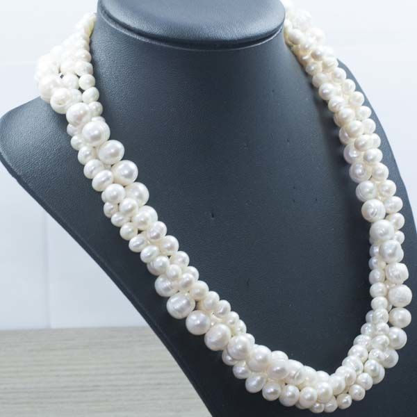 3-strand necklace with Rio cultured pearls and 925 silver – 45 cm