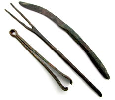 Selection of 3 Ancient Roman Bronze Medical Tools - Scalpel, Tweezers, and Forceps (3)